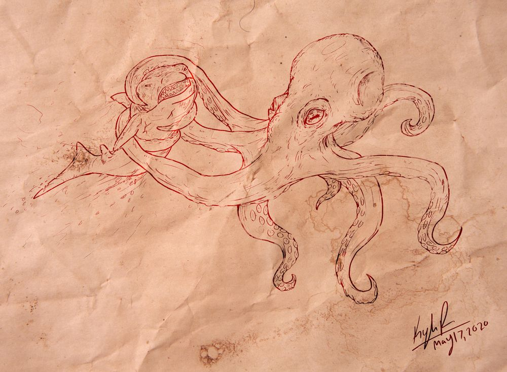 Octopus Attacks Shark - image 1 - student project