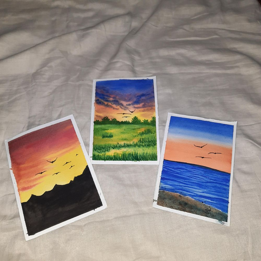How to paint Watercolor Aesthetic Sunsets with Simran - image 2 - student project