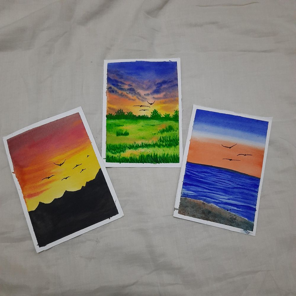 How to paint Watercolor Aesthetic Sunsets with Simran - image 3 - student project