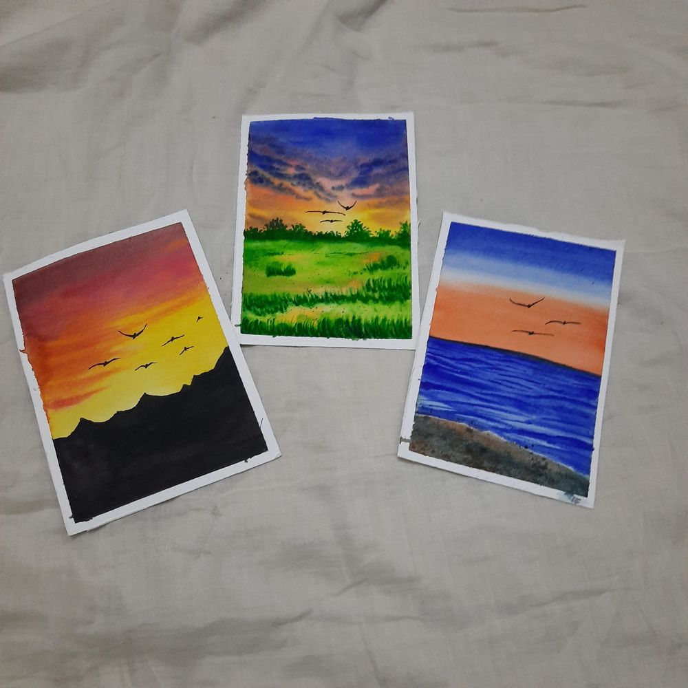 How to paint Watercolor Aesthetic Sunsets with Simran - image 1 - student project
