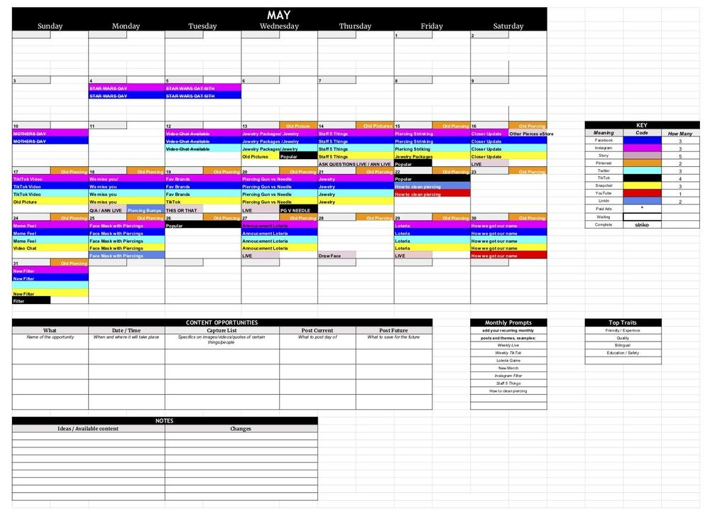 Piercing Studio Monthly Planning - image 1 - student project