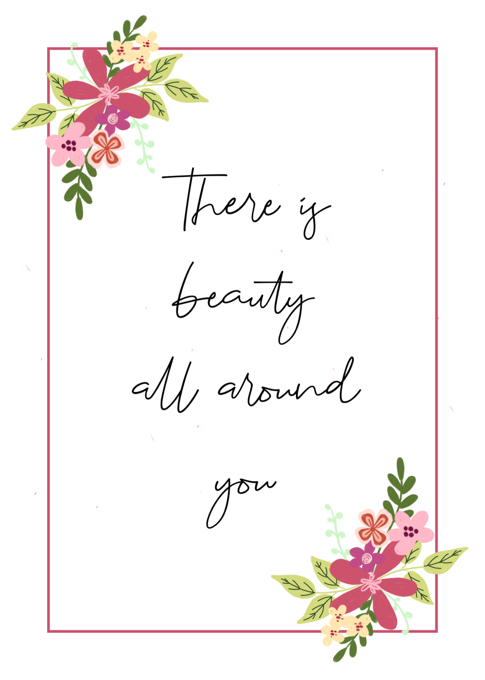 Quote with gouache flowers and border - image 1 - student project