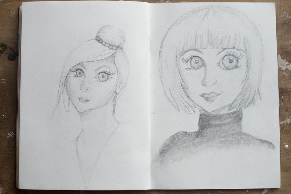 Female character sketches - image 3 - student project