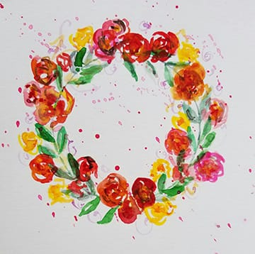 Floral Wreath with Splatters - image 1 - student project