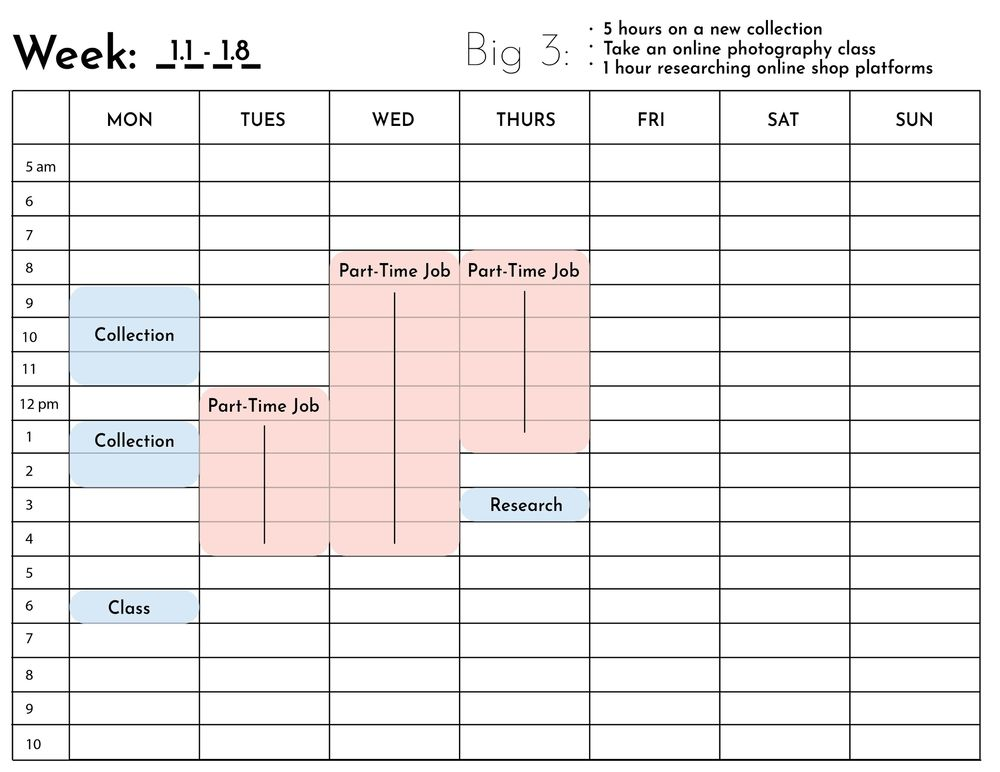 Sample Big 3 Goals and Schedule - image 6 - student project