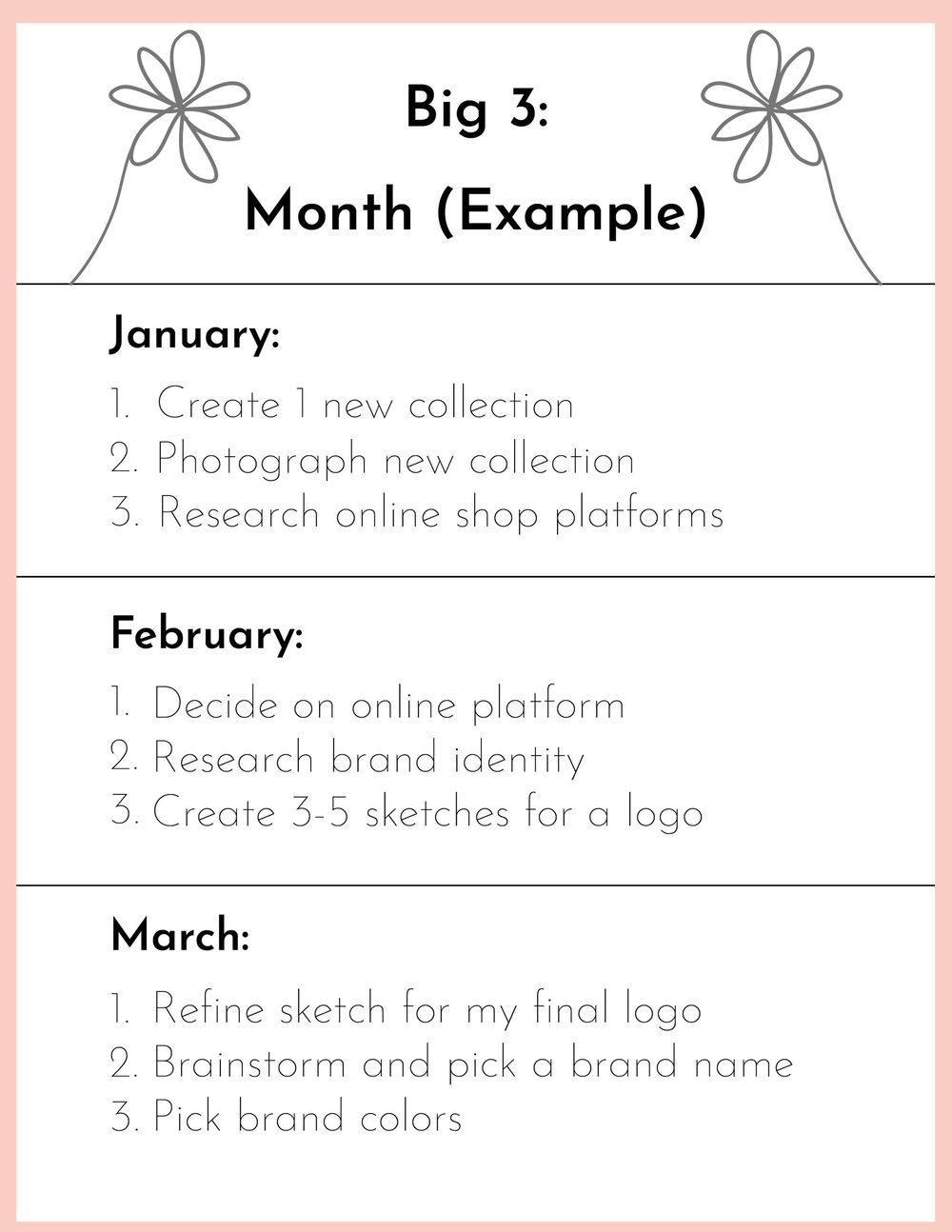 Sample Big 3 Goals and Schedule - image 2 - student project