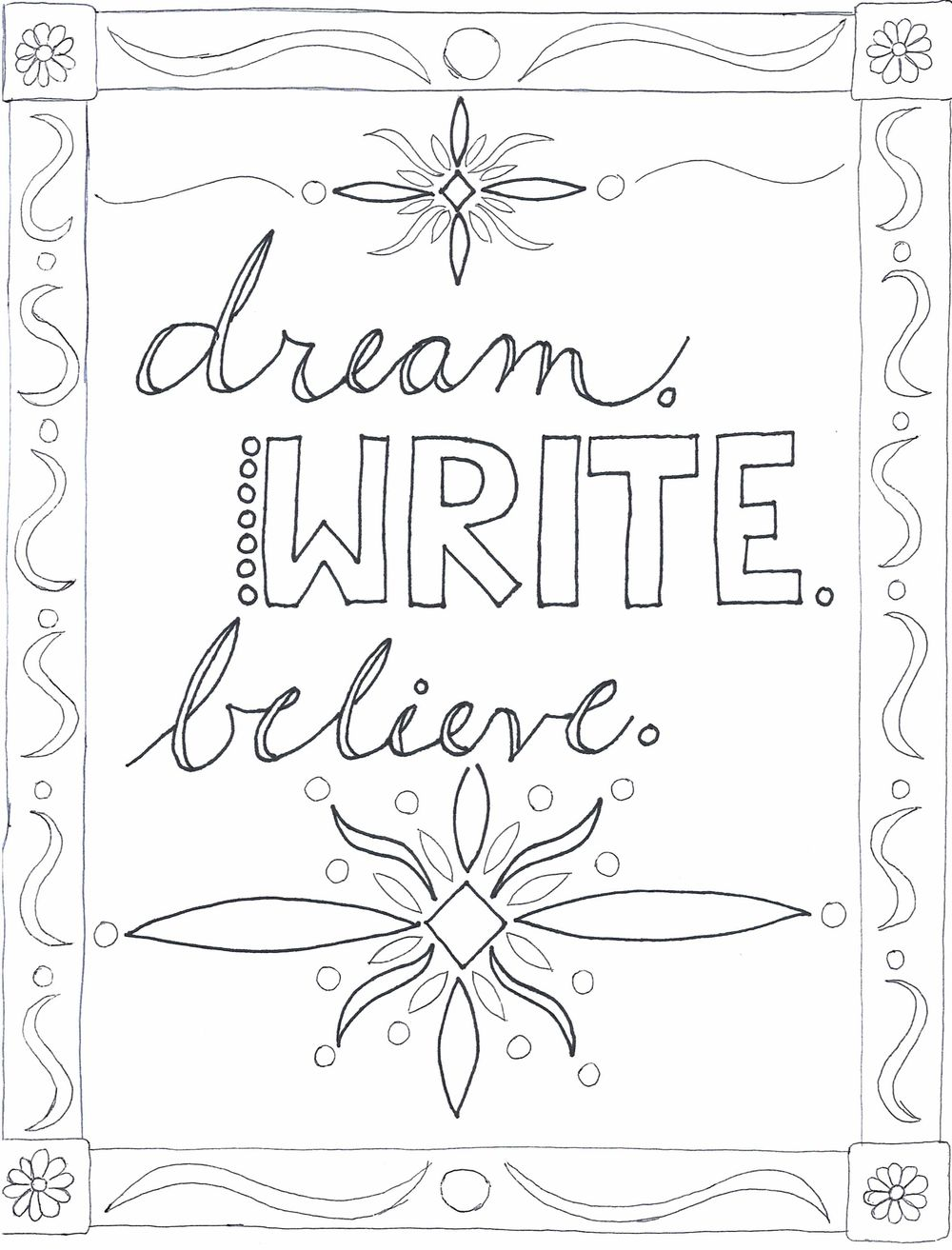 Dream, Write, Believe - First Colouring Page - image 1 - student project