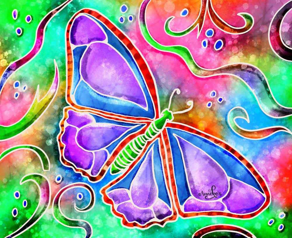 Psychedelic turtle & butterfly - image 1 - student project