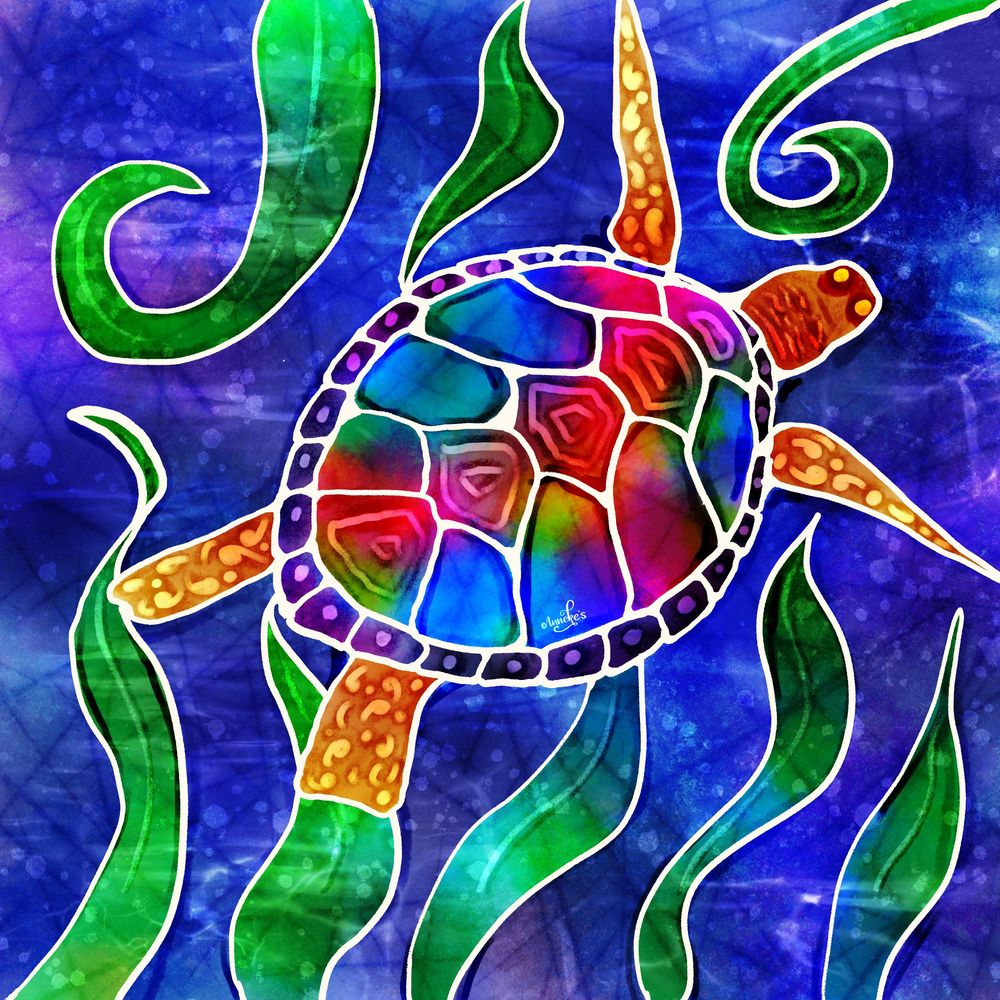 Psychedelic turtle & butterfly - image 2 - student project
