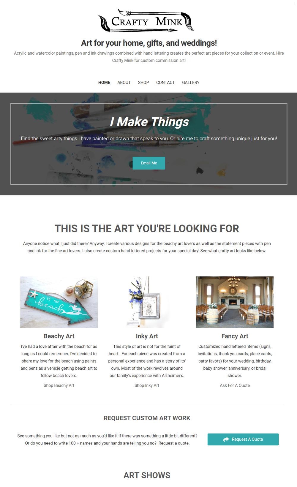 Crafty Mink - An artist's website: craftymink.com - image 1 - student project