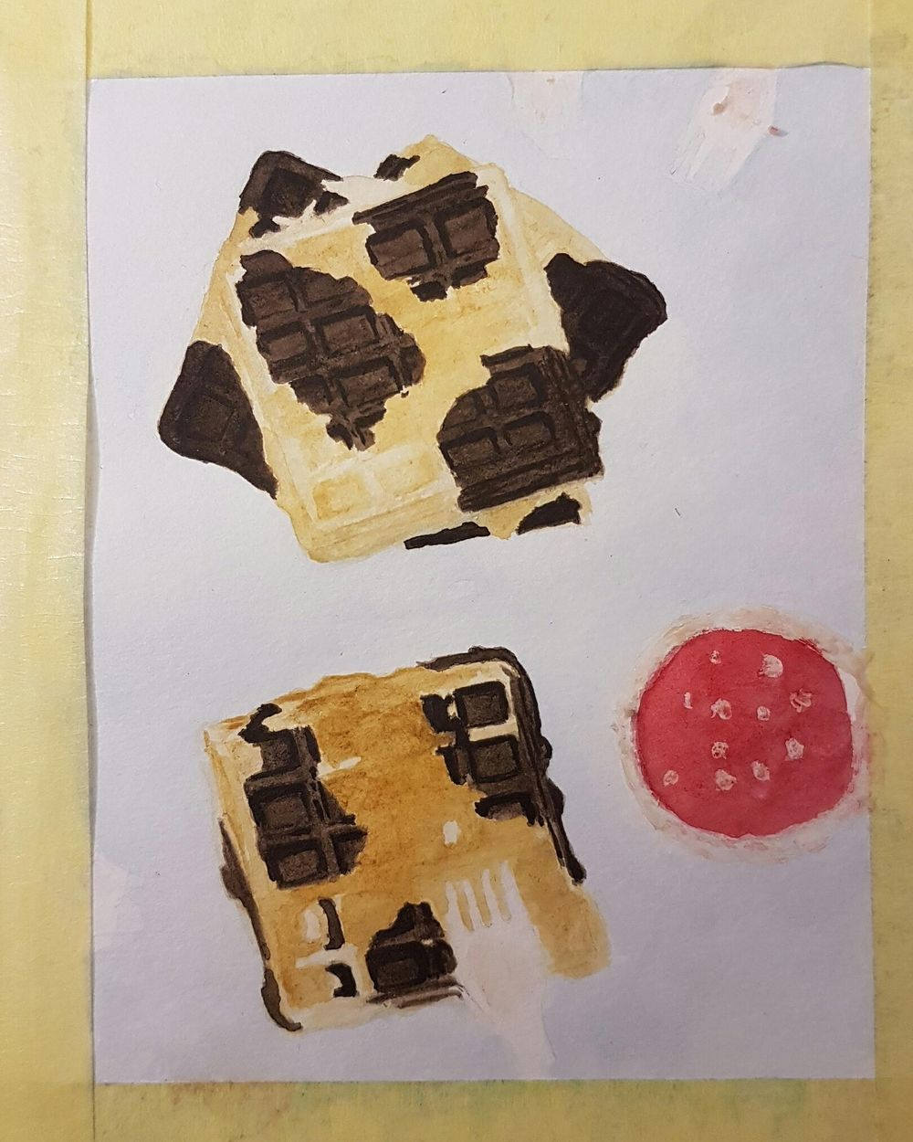 Practice Connecting things in Watercolor - Waffles - image 3 - student project