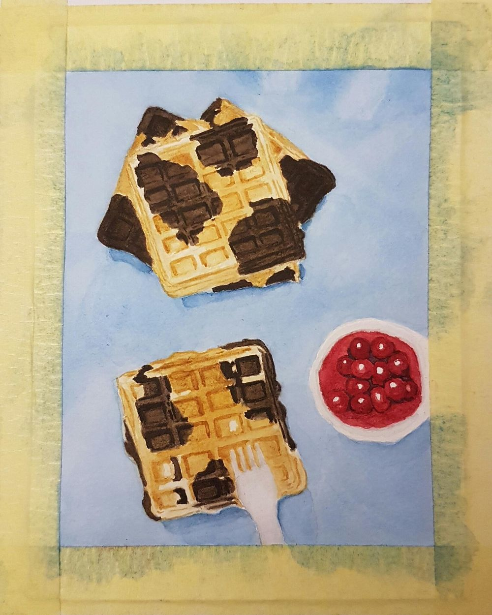 Practice Connecting things in Watercolor - Waffles - image 4 - student project