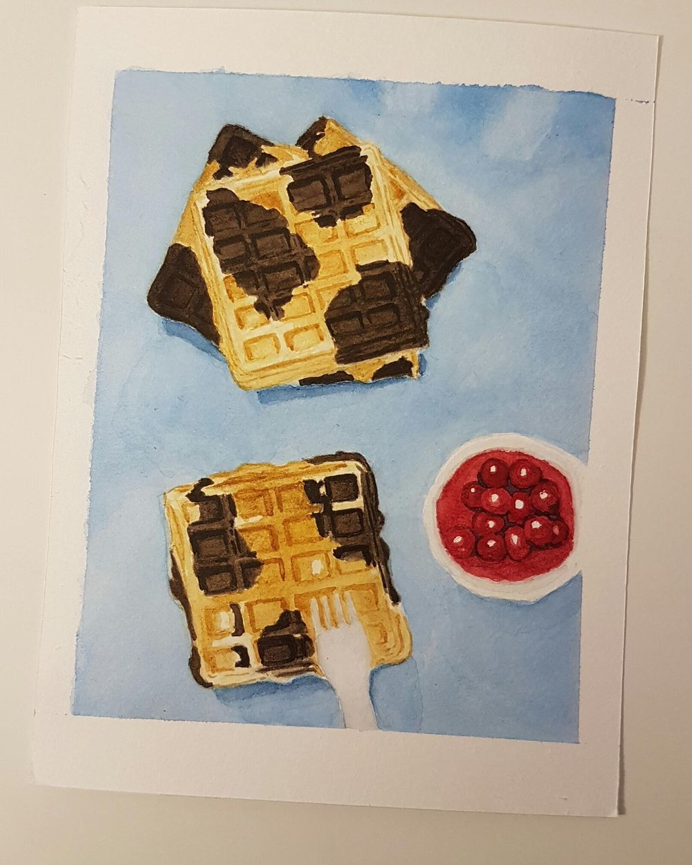 Practice Connecting things in Watercolor - Waffles - image 5 - student project