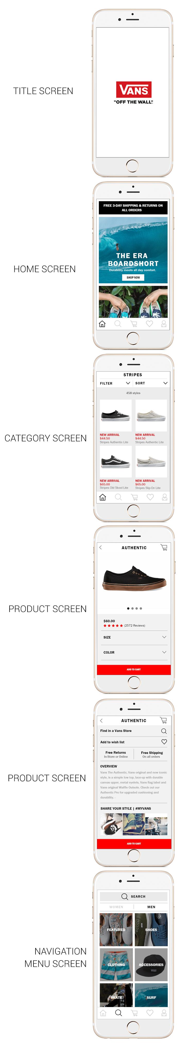 Mobile shopping app UI design - Vans - image 6 - student project
