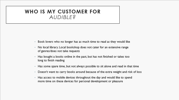 Customer Persona - Audible - image 1 - student project