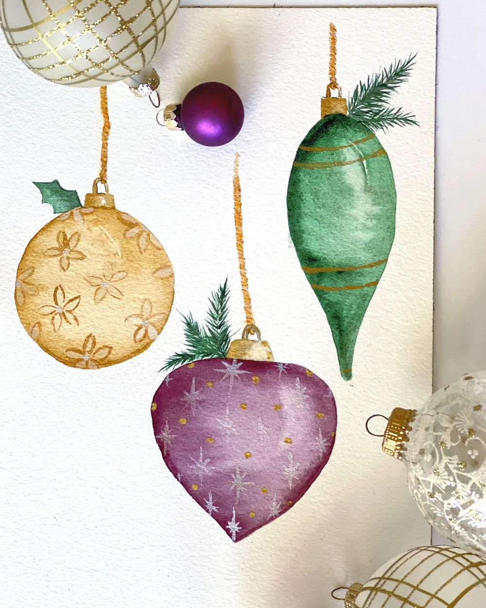 Watercolor Ornaments - image 1 - student project