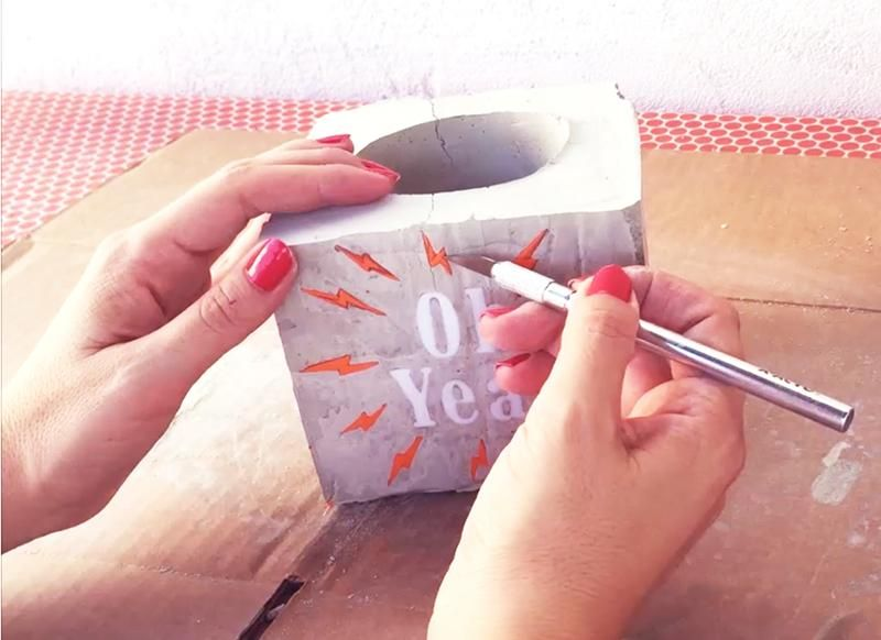 DIY: Make a Cement Planter & Engrave a Personalized Message (SAMPLE PROJECT) - image 4 - student project