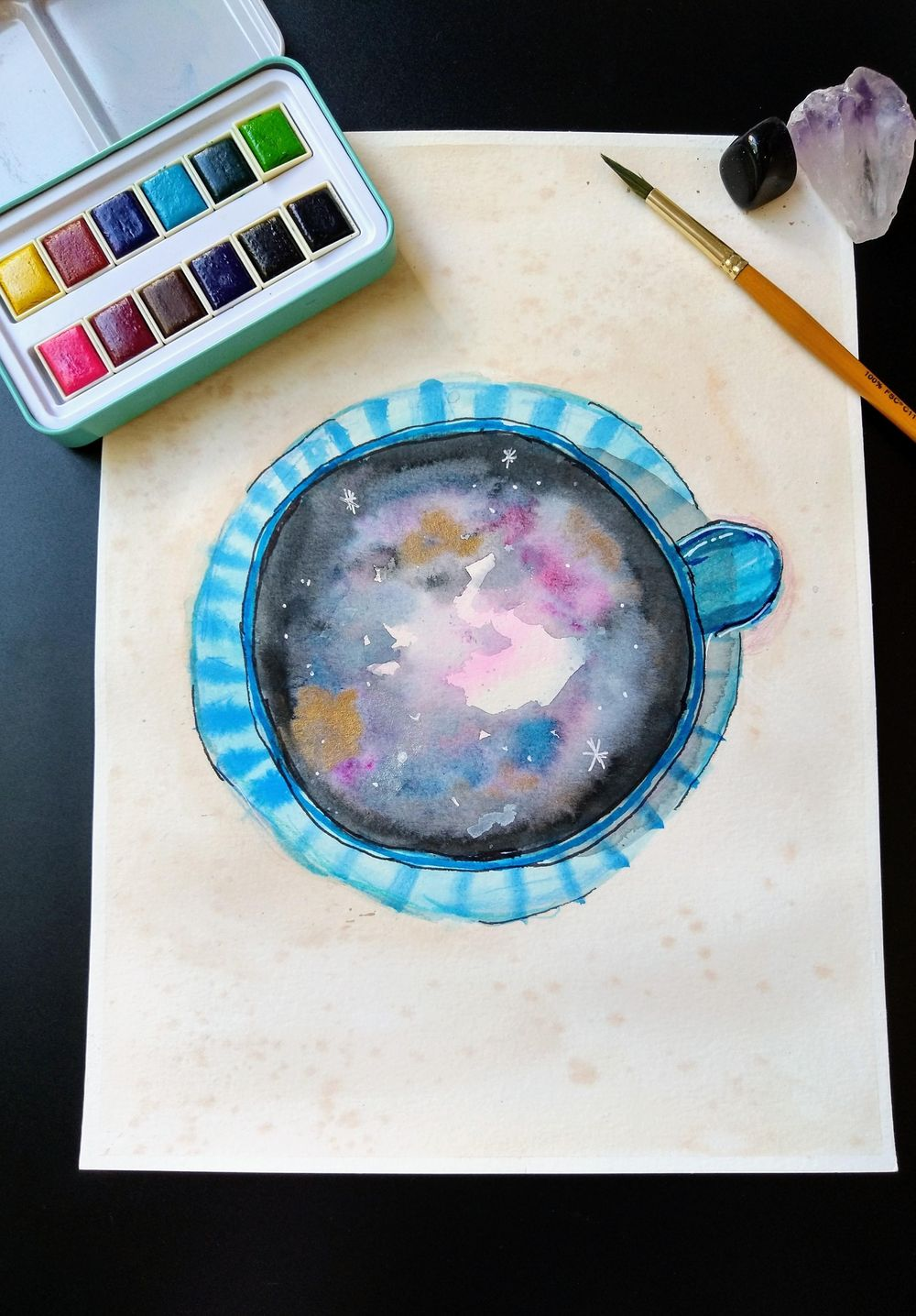 Galaxy Drinks Illustration with Watercolor & Mixed Media - image 1 - student project