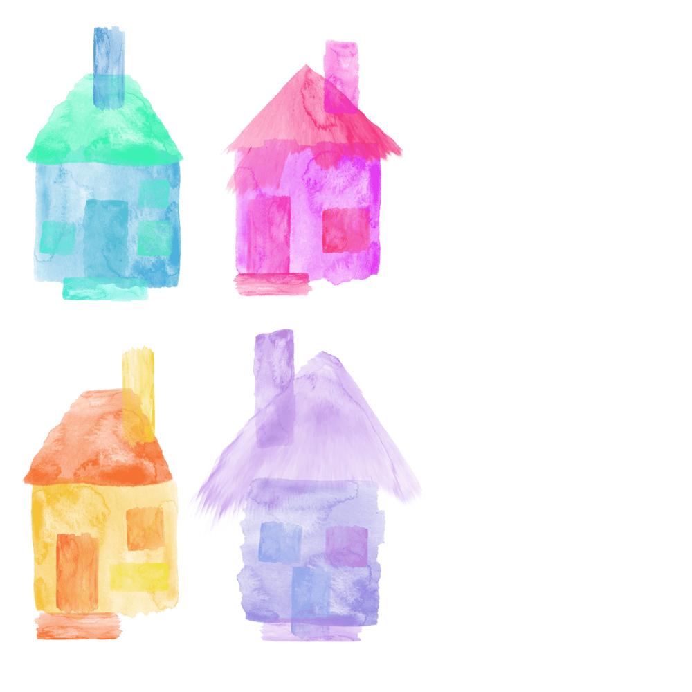 Digital watercolor zinnias - image 1 - student project