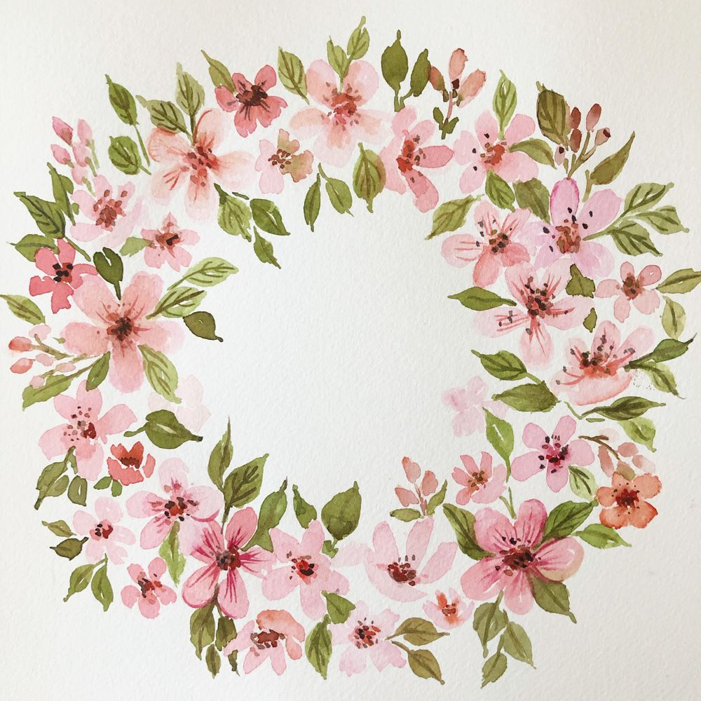 Painting a Cherry Blossom Wreath - image 1 - student project