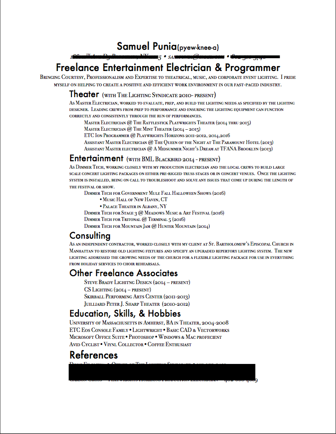 New Working Resume - image 2 - student project
