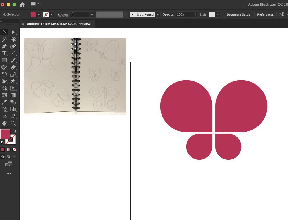 Drawing Butterflies in Illustrator - image 2 - student project