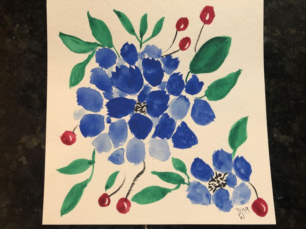 Loose Blue Watercolor Flowers - image 1 - student project
