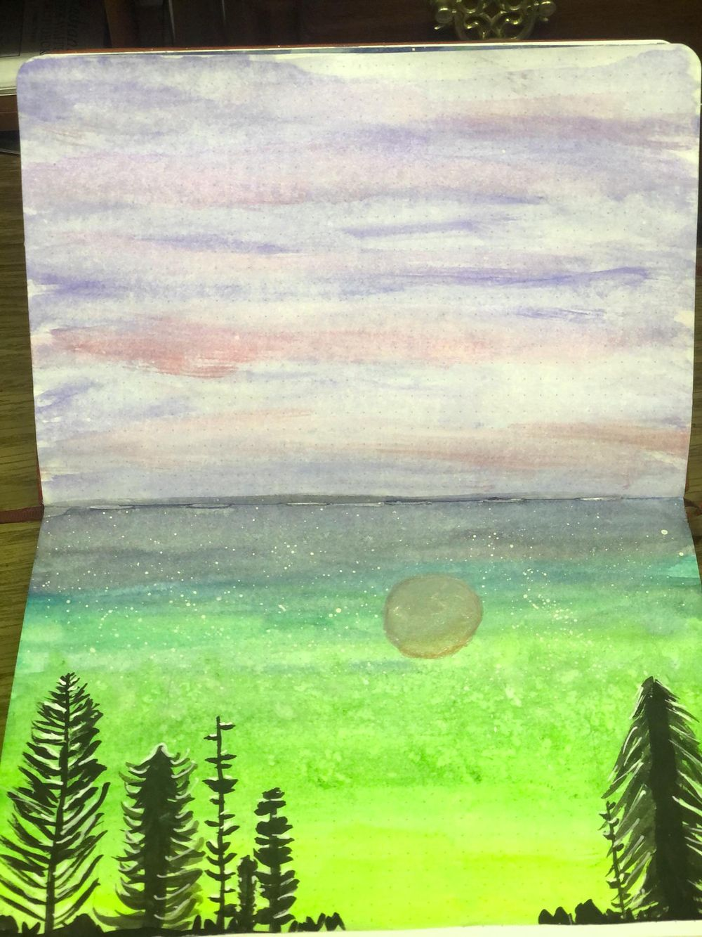 Pine Trees with Moon in Art Journal - image 1 - student project