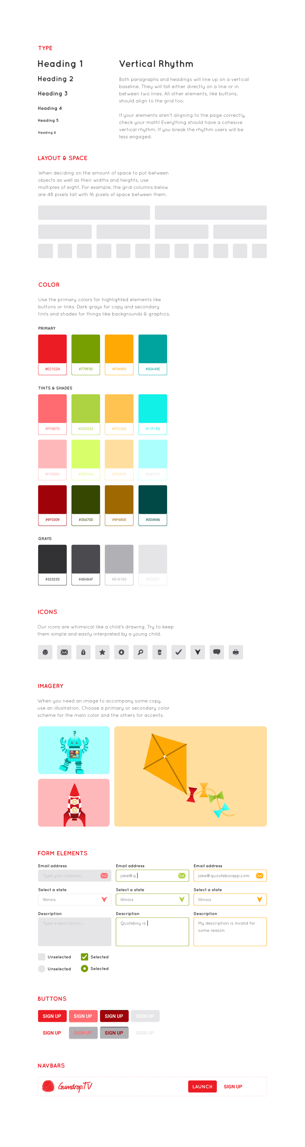 Gumdrop.tv Style Guide & Sample Page - image 1 - student project