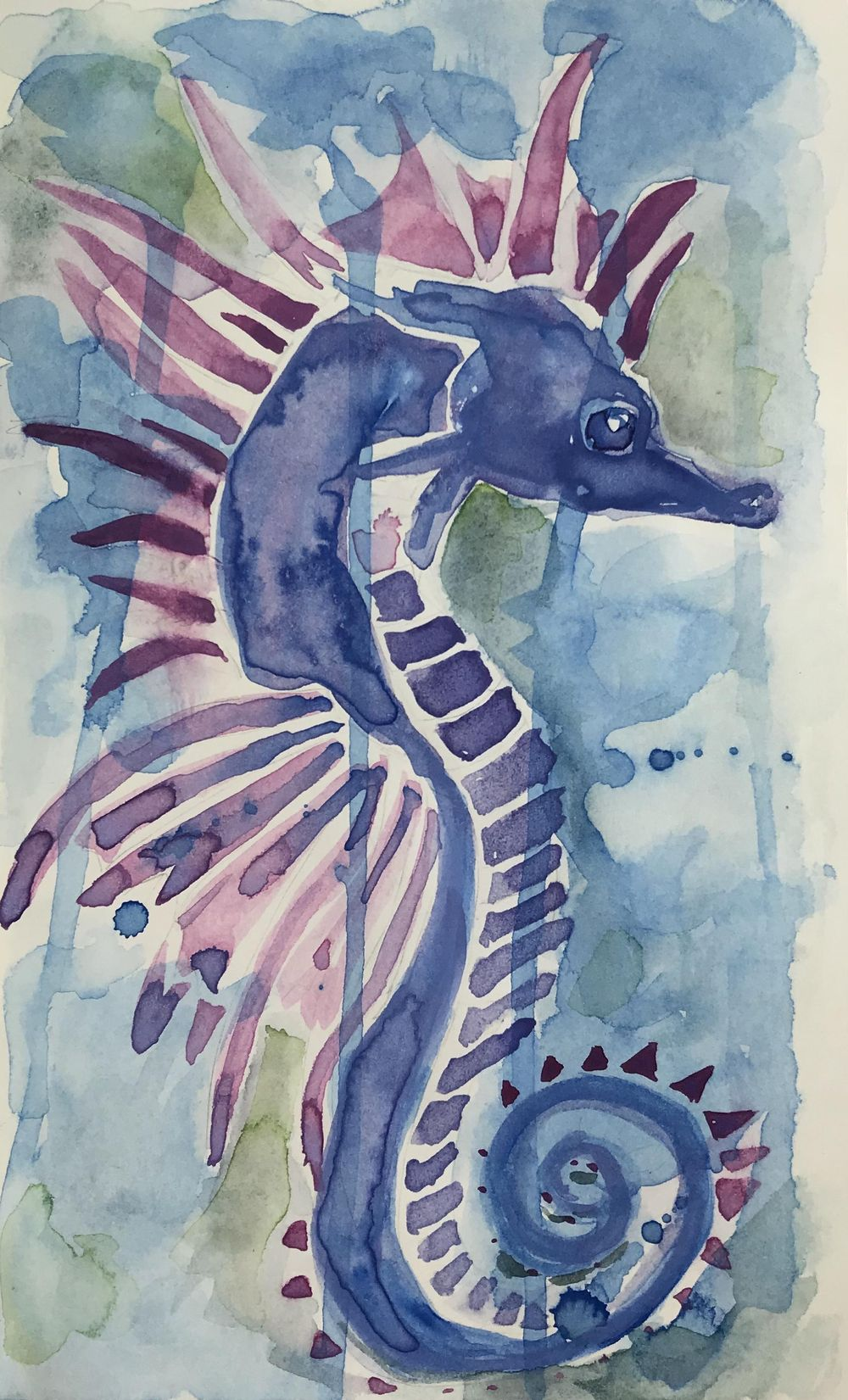 Modern watercolor- Seahorse - image 2 - student project