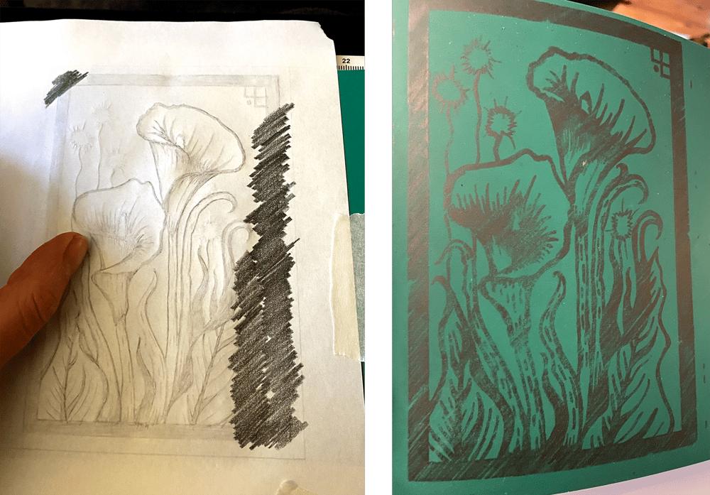 Arum Lily Linoprint - image 3 - student project
