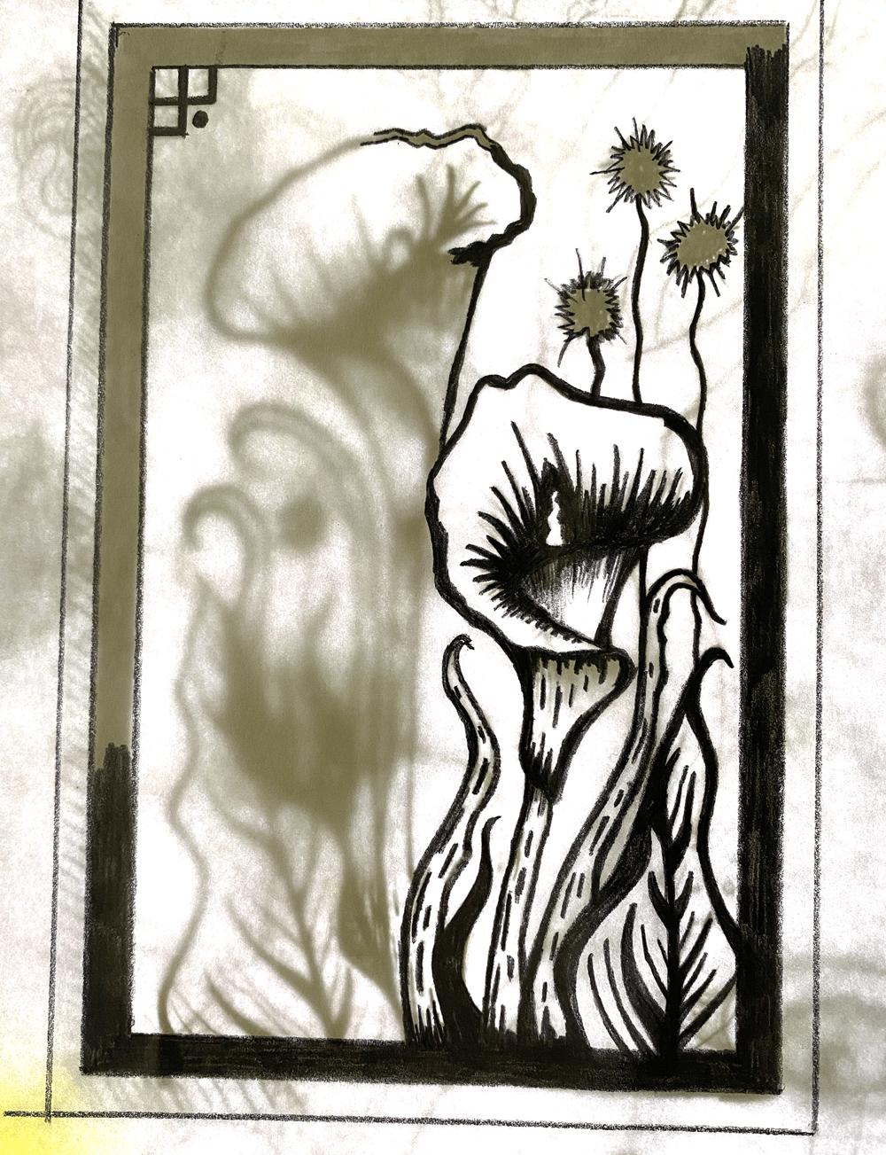 Arum Lily Linoprint - image 2 - student project