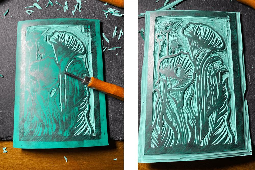 Arum Lily Linoprint - image 4 - student project