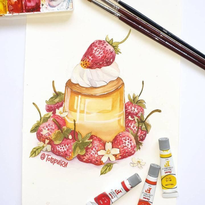 Watercolor dessert - image 1 - student project