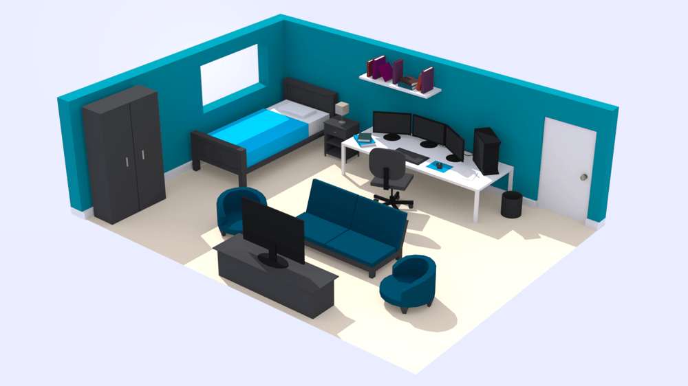Maya Low Poly Room - image 1 - student project