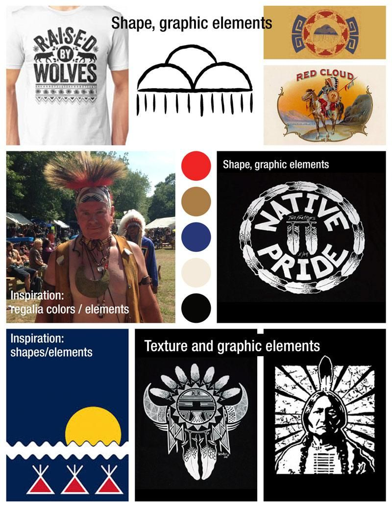 Mood Board for Native American-inspired t-shirt - image 1 - student project