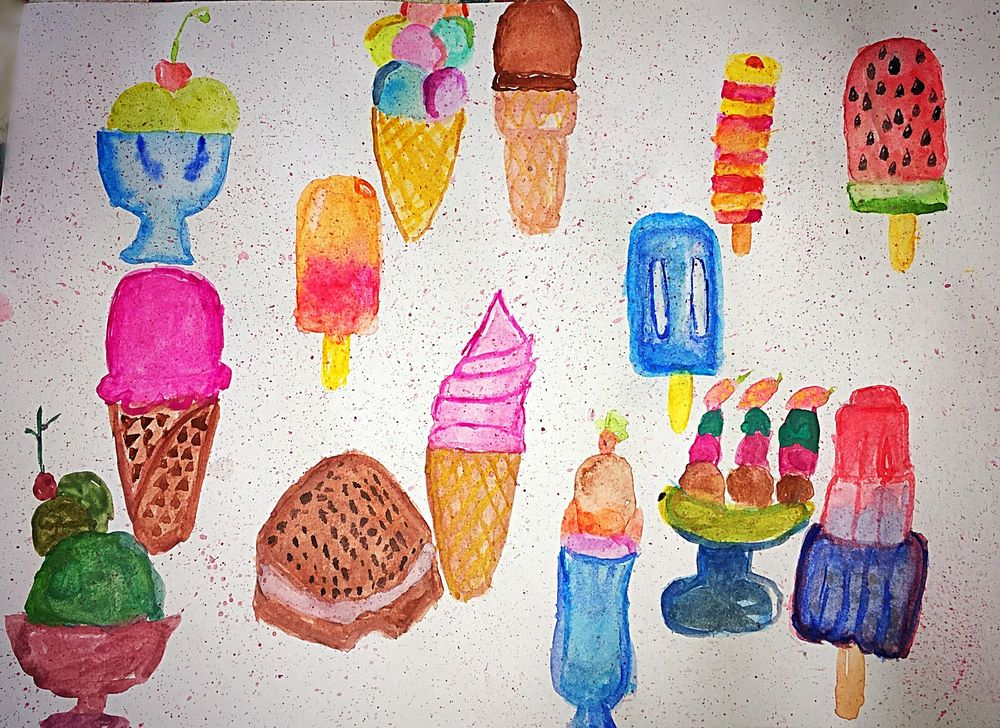 Watercolour Ice-creams - image 1 - student project