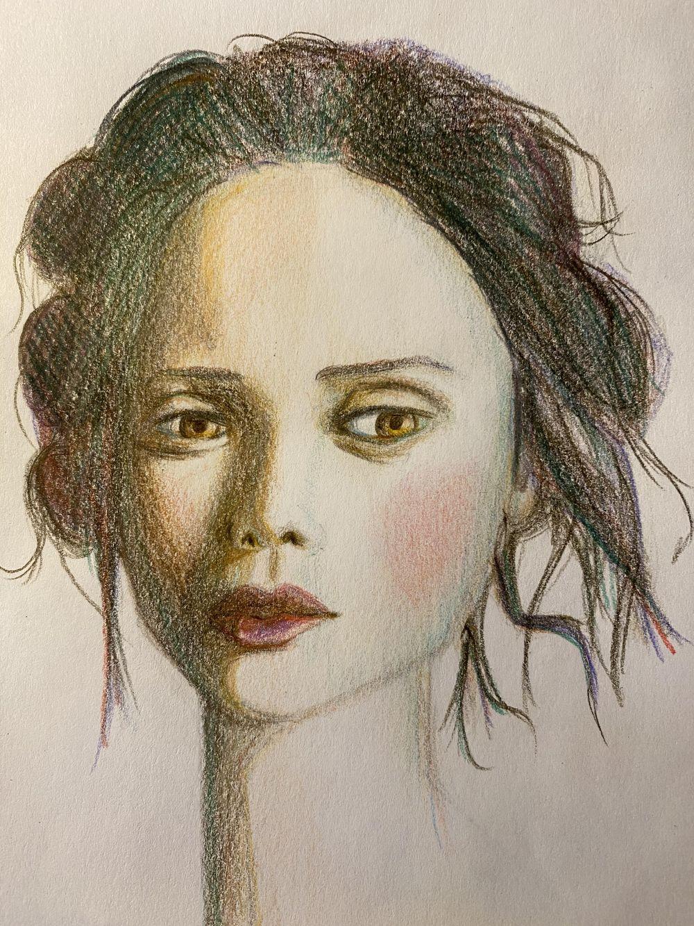 Colored pencils portrait - image 1 - student project