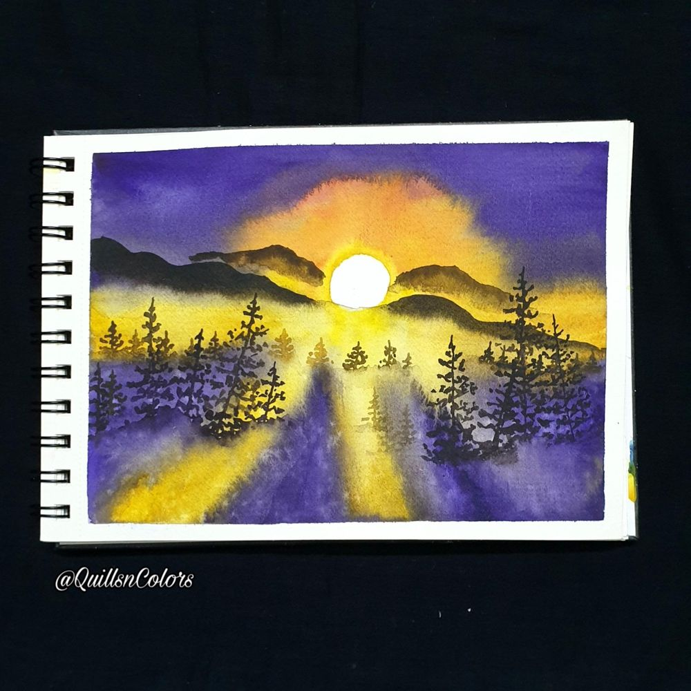 Watercolor Sunset Landscapes - image 3 - student project