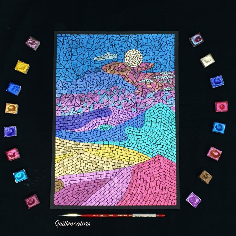 Watercolor Mosaic Landscape - image 1 - student project