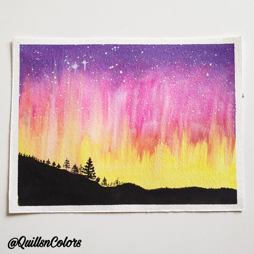 Watercolor Northern Lights - image 3 - student project