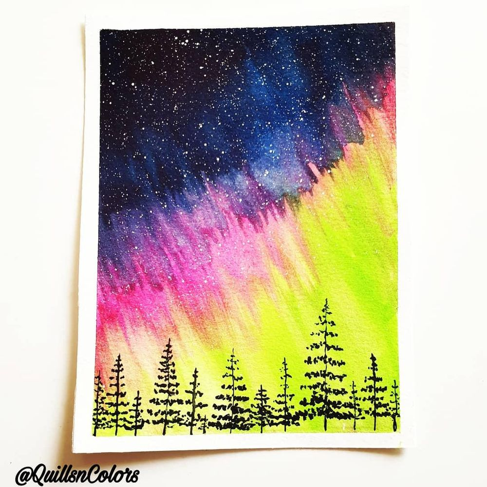 Watercolor Northern Lights - image 2 - student project