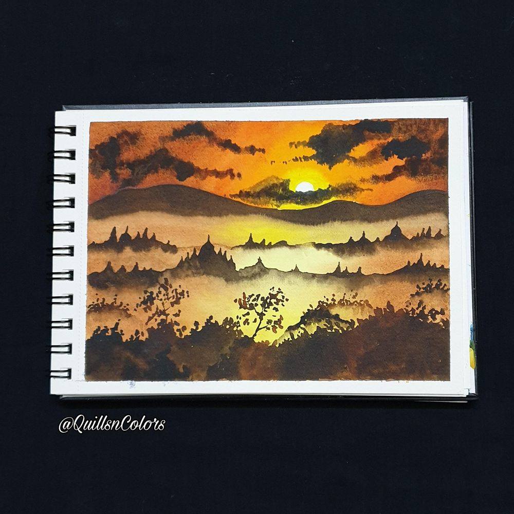 Watercolor Sunset Landscapes - image 1 - student project