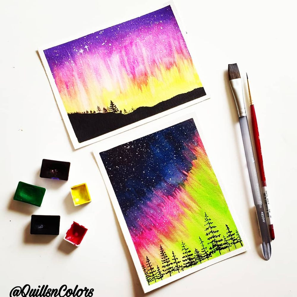 Watercolor Northern Lights - image 1 - student project