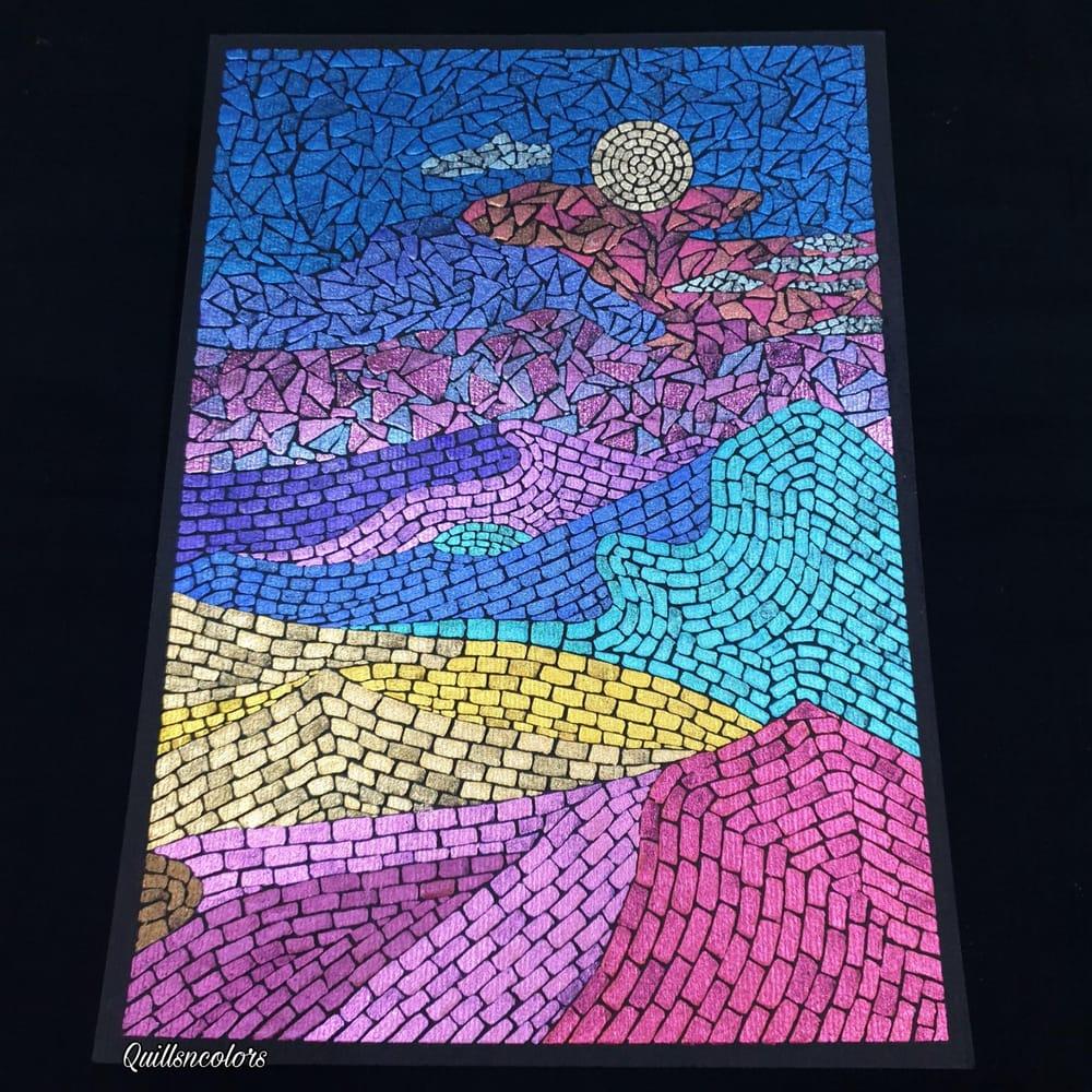 Watercolor Mosaic Landscape - image 2 - student project