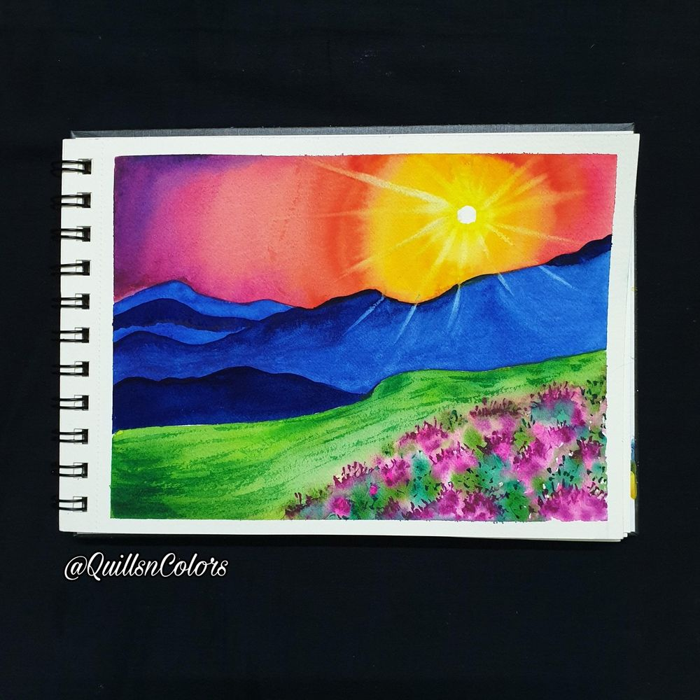 Watercolor Sunset Landscapes - image 2 - student project