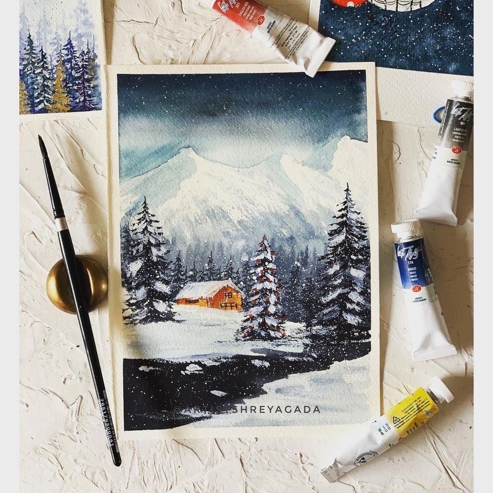 Winter landscape by @artistshreyagada - image 1 - student project