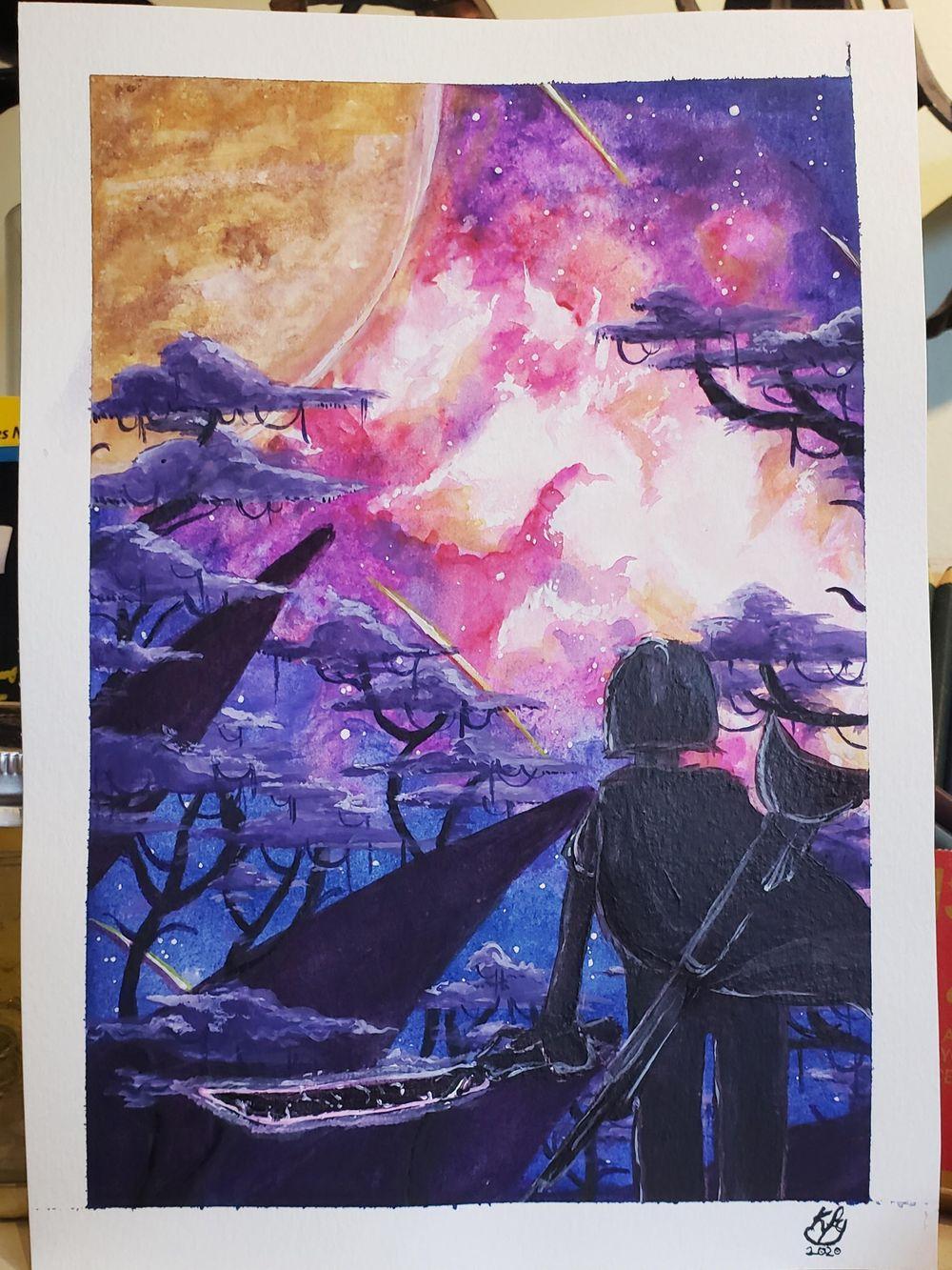 Galaxy Nebula Watercolor - image 1 - student project