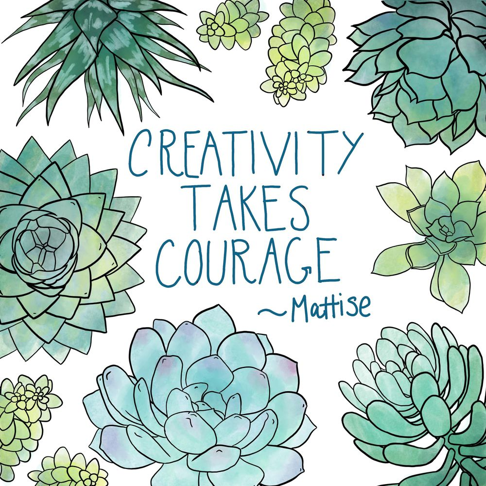 Watercolor Succulent Quote - image 1 - student project