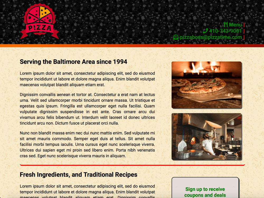 FlexBox Project - Pizza Time - image 1 - student project